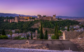 Picture landscape, mountains, nature, the city, home, the evening, fortress, Spain, Palace, Granada, Alhambra