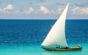 Picture Africa, fishermen, Tanzania, Tanzania, sailing boat, aerial view, aerial view, Zanzibar island, голубой Индийский океан, …