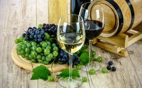 Wallpaper wine, glasses, grapes