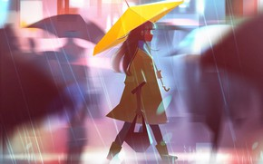Picture street, umbrella, blur, girl, bag, walk, cloak, the shower, art, Jenny Yu