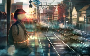 Picture wire, rails, home, Japan, schoolgirl, backpack, sunrise, platform, railway station, the road into the distance, …