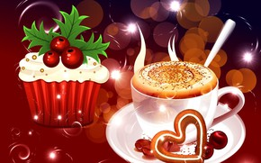 Picture Christmas, cappuccino, cakes, cupcake