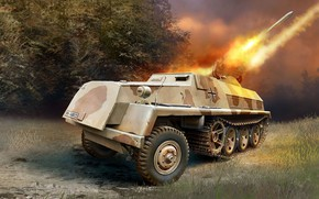 Wallpaper the Wehrmacht, Sd.Car.4/1, The jet system of volley fire, 15cm launchers panzerwerfer 42.Sf, German self-propelled ...