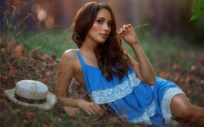 Picture look, girl, pose, hair, hand, hat, a blade of grass, sundress, Andrey Metelkov, Andrey Metel'kov