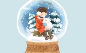 Picture snow, boy, tree, blue background, bear, snow globe, on the stump