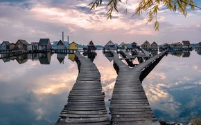Picture sunset, autumn, lake, Hungarian, stilt houses