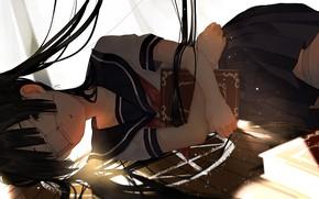 Picture book, schoolgirl, witchcraft, pentagram, long hair, eye patch, lying on the floor, bangs, sailor