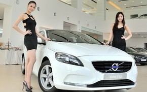 Picture look, Girls, Asian girls, beautiful girls, white car, posing over the car, VOLVO V40