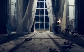 Picture night, doll, mystery, window, curtains, scary, gloomy atmosphere
