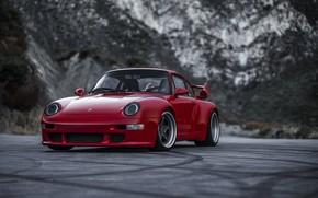 Picture asphalt, mountains, traces, red, coupe, 911, Porsche, 993, 2017, Gunther Plant, 400R Coupe
