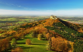 Picture autumn, forest, the sky, clouds, trees, blue, castle, view, field, height, Germany, village, hill, panorama, …