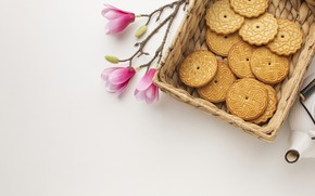 Picture flowers, background, basket, cookies
