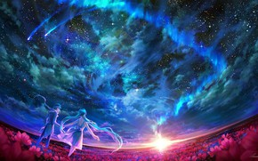 Picture clouds, people, The sky, two, Vocaloid, Vocaloid