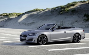 Picture grey, Audi, convertible, Audi A5, in the Parking lot, A5, 2019, A5 Cabriolet