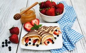 Picture berries, chocolate, towel, Breakfast, strawberry, honey, cheese, pancakes, Olena Rudo