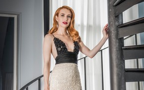 Picture girl, pose, makeup, figure, dress, actress, beauty, Emma Roberts