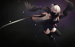 Picture sword, saber, flowers, katana, blonde, yellow eyes, kimono, anime girl, fate grand order, sakura know, …