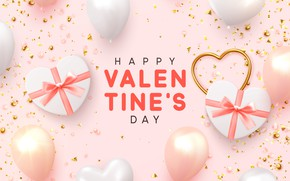 Picture balls, background, pink, gifts, hearts, Valentines Day