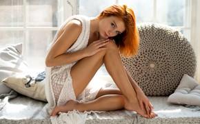 Picture look, girl, pose, feet, pillow, red, redhead, Vladimir Nikolaev, Marta Gromova, Marta Gromova
