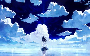Picture the sky, girl, clouds