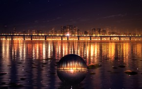 Picture water, bridge, the city, ball, the evening