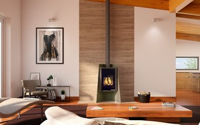 Picture design, interior, fireplace, living room