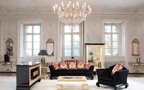 Picture house, lamp, sofa, Villa, Windows, interior, pillow, chandelier, mirror, luxury, living room, stucco