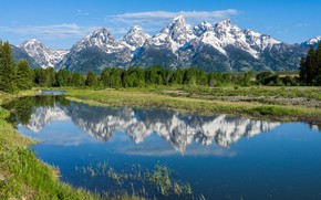 Wallpaper trees, mountains, reflection, river, Wyoming, Wyoming, Grand Teton National Park, Rocky mountains, The Snake River, ...