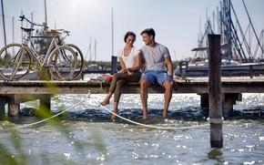 Picture romance, two, bikes