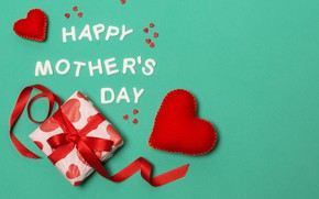 Picture gift, tape, hearts, Mother's Day