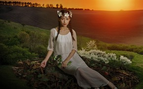 Picture field, look, girl, light, sunset, flowers, nature, pose, mood, treatment, dress, hill, meadow, art, girl, …
