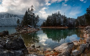 Picture clouds, trees, landscape, mountains, nature, lake, stones, Germany, ate, Bayern, Alps, Eibsee, Eibsee