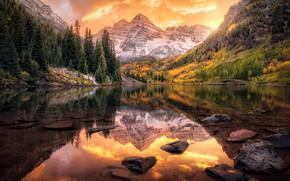 Picture autumn, forest, clouds, sunset, mountains, reflection, stones, tops, ate, pond