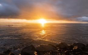 Picture sea, the sun, light, sunset, stones, shore