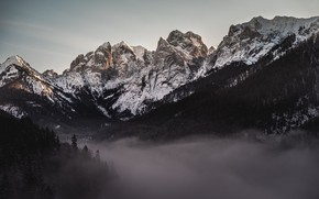 Picture winter, the sky, snow, trees, mountains, nature, fog, rocks, Austria, Alps, Tyrol