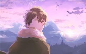 Picture the sky, dragons, guy, The Rise Of Shield Hero, Naofumi Iwatani