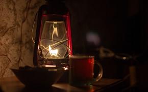 Picture light, glass, darkness, heat, tea, stand, kerosene lamp