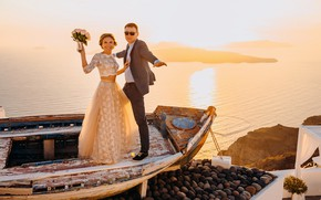 Picture sea, the sun, happiness, smile, boat, the bride, beautiful, wedding, the groom