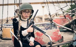 Picture girl, face, weapons, model, glasses, machine, helmet
