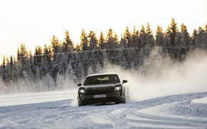 Picture snow, black, track, Porsche, turn, 2020, Taycan, Taycan 4S