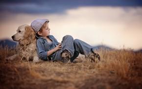 Picture grass, nature, animal, dog, boy, cap, shirt, friends, child, pants, dog, Retriever, Amber Bauerle