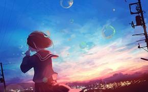 Picture the sky, girl, sunset, the city, bubbles, school uniform