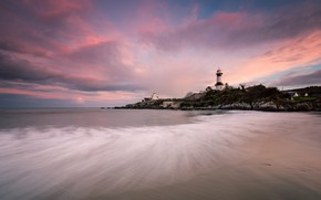 Picture sea, clouds, sunset, shore, lighthouse