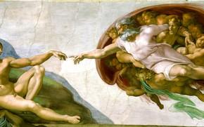 Picture Michelangelo, The Creation Of Adam, Fresco Michelangelo, Museum: the Sistine chapel