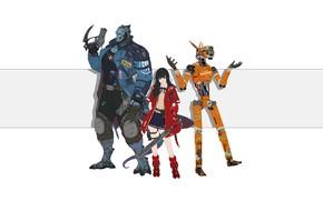 Picture Girl, Minimalism, Monsters, Robot, Monster, Robots, Style, Asian, Girl, Sword, Art, Art, Asian, Robot, Style, …