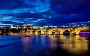Picture night, bridge, river, Prague, Czech Republic