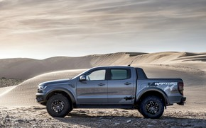 Picture sand, grey, desert, Ford, side view, Raptor, pickup, Ranger, 2019
