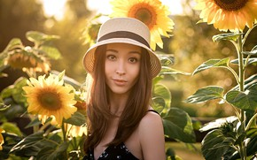 Picture summer, look, girl, sunflowers, face, hat, Arina Kim, Anton Nabatchikov