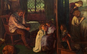 Picture family, 1862, dogs, Arthur Hughes, The bedtime