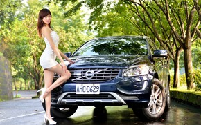 Picture auto, look, Girls, Volvo, Asian, beautiful girl, posing on the car